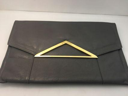 Vintage clutch grey with gold hardware