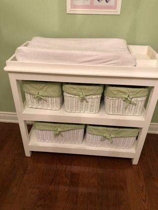 Change table with basket pottery barn