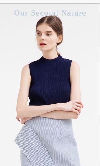 OSN High-Neck Pleated Top (Navy)