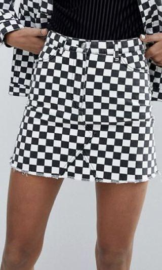 Monki Chekerboard Mini Skirt
