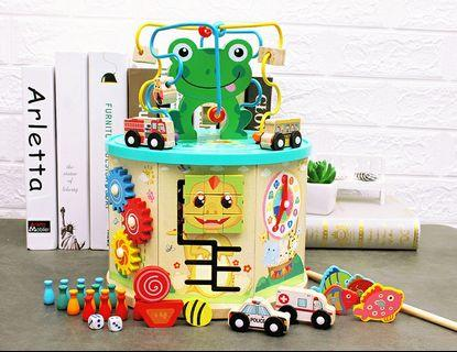 Baby infant building blocks toys 1-3 years old early education puzzle boys and girls children beaded big round beads treasure box