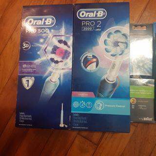 🚚 Oral B Electric Toothbrush + 2 extra heads + 1 family size 5 pcs ( total paid almost $400)