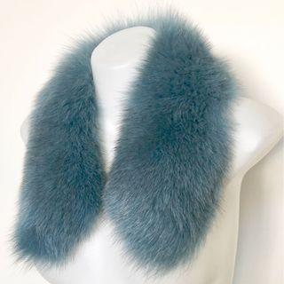 Finn Fur Collar Scarf In Blue / Grey