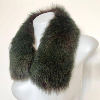 Finn Fur Collar Scarf In Green / Brown