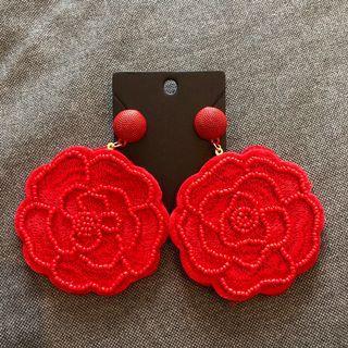 Brand new elegant red rose handmade sequins dangling earrings