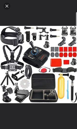Gopro Accessories kit for GoPro Hero 6,5 Black, Hero Session,GoPro Fusion,Hero 6,5,4,3, Head Strap Camera Mount,Chest Mount Harness,Carrying Case,Action Camera Accessories