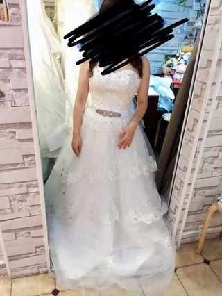超顯瘦小拖尾婚紗(超平)
