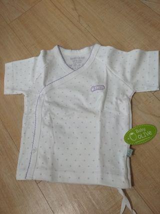 Atasan baby Kimono Putih dot Ungu