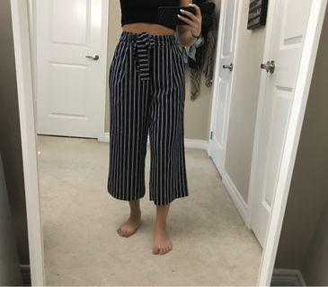stripped navy culottes