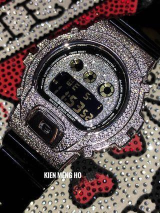 Customise G-Shock DW-6900 in Full metal bezel and crystals . Bling bling G-Shock , G-Shock with crystals , Casio , CASIO