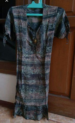 Dress Batik Cap Bahan Paris / dres paris / dres midi / dres batik / dres simpel / dres abg /batik / free ongkir
