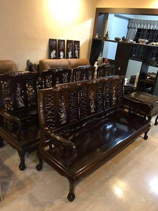 Antique vintage collectibles Rosewood Furniture antiques Tables & Chairs full set Solid wood vintage collectibles Arts Antique furniture set Antique Furniture Chinese cabinet wooden cabinet Sofas