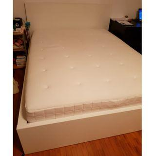Ikea Queen size white bed frame only (without matress)