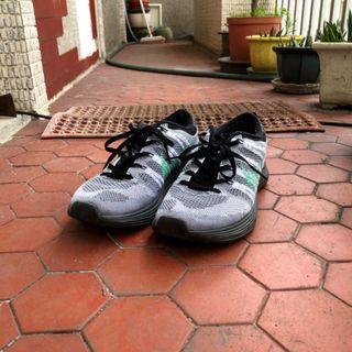 NIKE FLYKNIT LUNAR1+ 飛線黑灰蒂芬妮綠潑墨輕量慢跑鞋 US7.5 24.5cm 554888-130