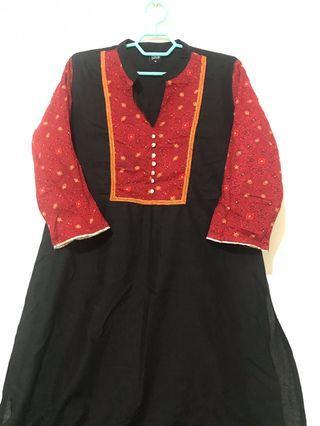 Black red kurti knee length kurti blouse from India