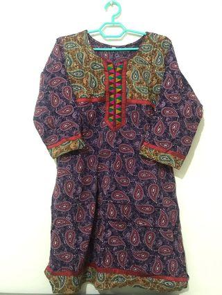 Colorful pasley purple kurti blouse from India