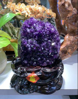 極品烏拉圭紫晶簇 連木座