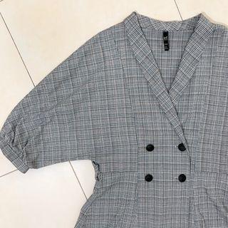 Zara Plaid Checkered Double Breasted Blazer Blouse