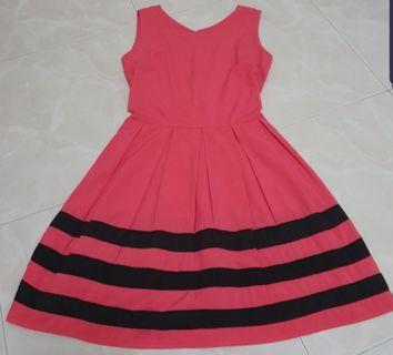 Pink with black striped Dress