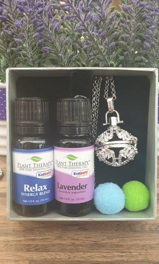 Essential oil set with diffuser locket, plant therapy lavender and relax