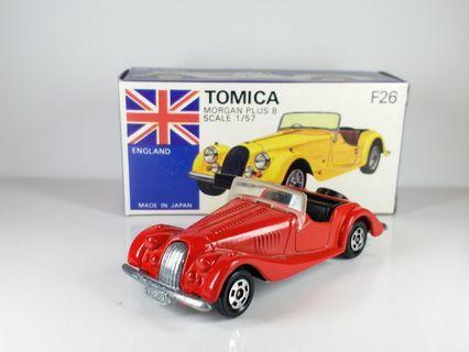 日制Tomica車仔,Tomy Tomica ~ F26 MORGAN PLUS 8 ~ 1977 年生產 MADE IN JAPAN 日本制,NEW OLD STOCK, 全新庫存品, 零瑕疵