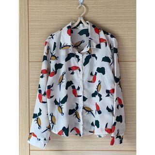 日系鸚鵡樹葉古著復古印花雪紡長袖襯衫罩衫