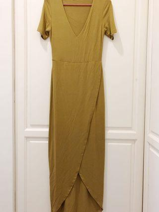 Mustard Yellow Split Maxi Dress