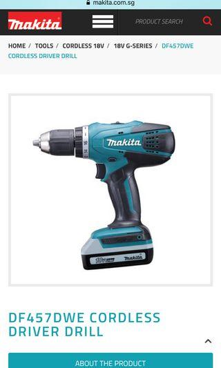 🚚 Makita cordless driver drill DF457DWE bnib