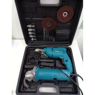 Wately Impact Drill and Angle Grinder with Accessories Assortment Set Model 5243