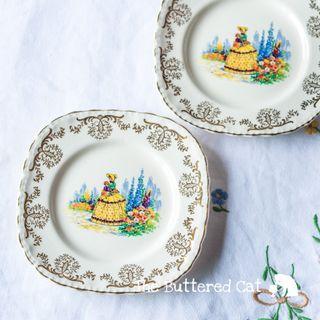 Vintage English crinoline lady tea plates, replacement plates