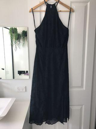 Pasduchas midi dress -Navy and Black -size 8
