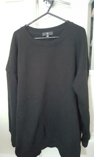 Oversized black fleece sweater