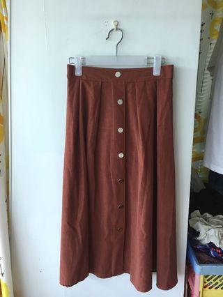 Reddish brown long dress 啡色文青長裙