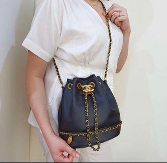 Chanel chain bucket bag vip authentic lambskin