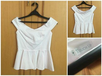 Touch Up Sabrina Peplum Top in White