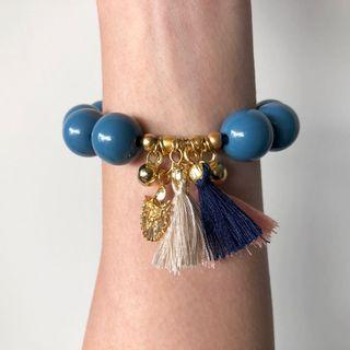 Beaded Bracelet with Tassels In Blue