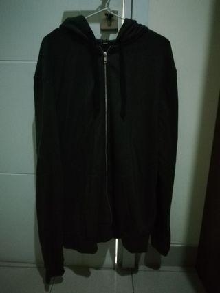 H&M Mens Zip Hoodie Army Green Jacket Original
