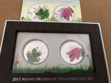 2015 Native Orchids of Singapore  2 in 1 Commemorative Silver $5 Coin Proof set