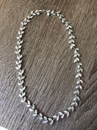 韓國樹葉鑽石頸鏈 新娘婚慶結婚 Korea diamond necklace