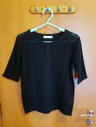 Lowrys Farm 黑色通花針織上衣 Black Top