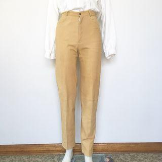 VINTAGE 90s CAMEL SOFT LEATHER HIGH WAIST TROUSERS