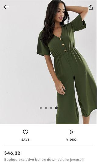 Button Down Culotte Jumpsuit