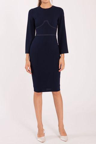 Long Sleeve Navy Midi Dress