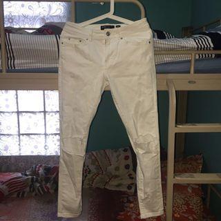 Bershka Super Skinny Ripped Jeans White
