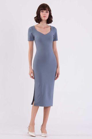 Midi Split Dress - Dull Blue