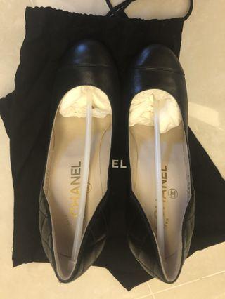 Brand new black Chanel leather heels