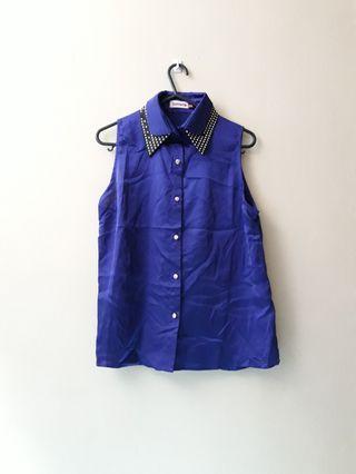 Tomato blue sleeveless collared top