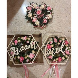 Floral Wreaths + Groom + Bride chair signages (FULL SET)