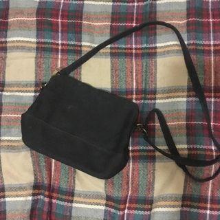 黑色帆布單肩袋