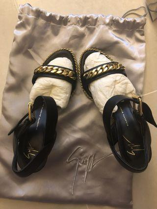 Black and gold Giuseppe Zanotti leather sandals